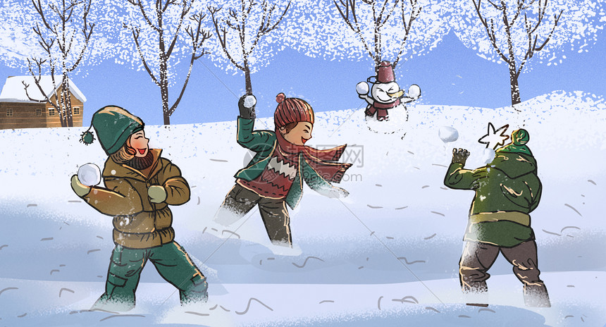 冬天打雪仗图片_打雪仗的小朋友插画图片下载-正版图片400083016-摄图网
