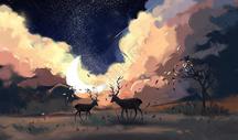 月光下的麋鹿图片