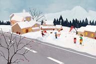 冬日儿童嬉戏图片
