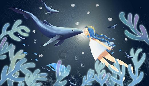 深海的女孩和鲨鱼图片