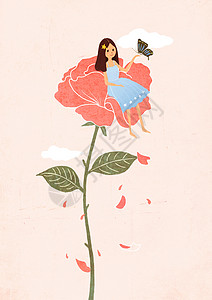女孩与蝴蝶图片