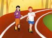 操场跑步的孩子图片