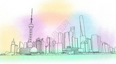 东方明珠景区插画图片