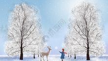 治愈系冬天下雪遛狗插画图片