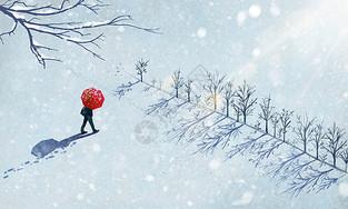 冬天雪中漫步图片