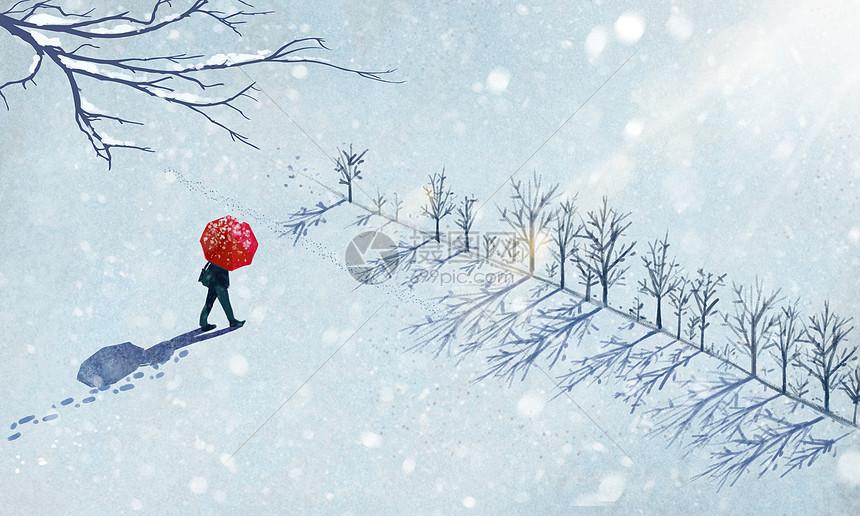 雪中漫步图片