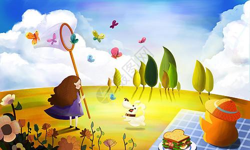 蓝天白云下的童趣图片