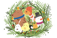 圣诞节贺卡手绘插画图片