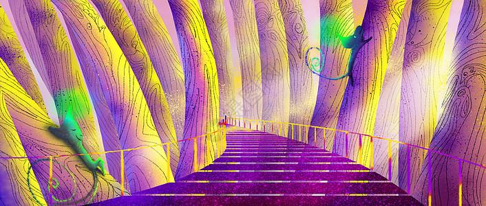 奇幻森林廊桥图片