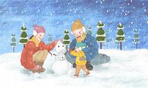 温馨亲子堆雪人图片