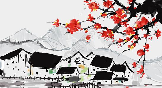 冬天梅花水墨山水画图片