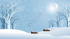 雪景插画图片
