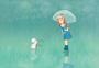 雨中的女孩治愈系插画图片