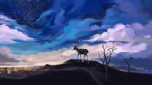 云层山顶鹿唯美插画图片