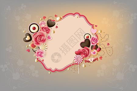 甜品主题印花矢量图图片