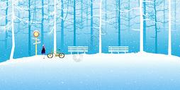 雪地中的少女插画图片