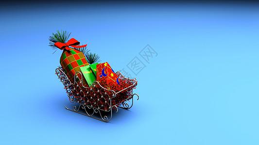 圣诞装饰礼物小车背景图片