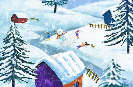 下雪堆雪人啦图片