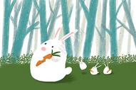 治愈系小清新萌宠小兔子插画图片