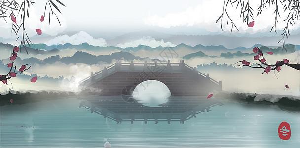冬季杭州西湖桥图片