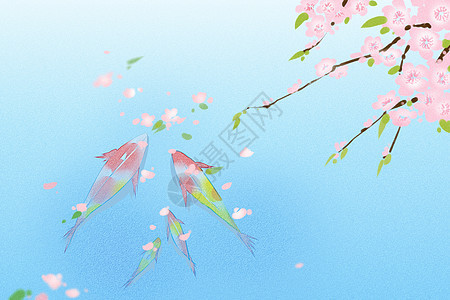 桃花水中的金鱼图片
