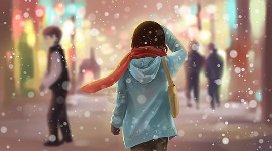 冬天雪中的少女图片