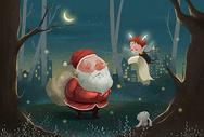 圣诞老人和驯鹿精灵图片
