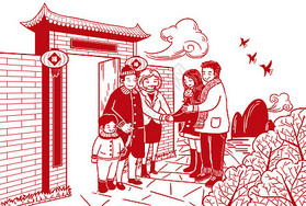 春节剪纸插画图片