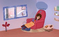 在屋内思考的女孩图片