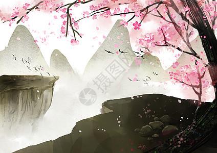 古树桃花图片