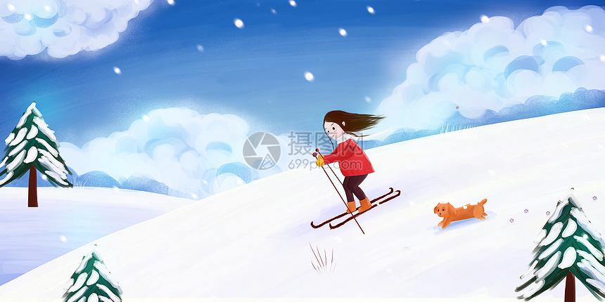 滑雪的女孩图片