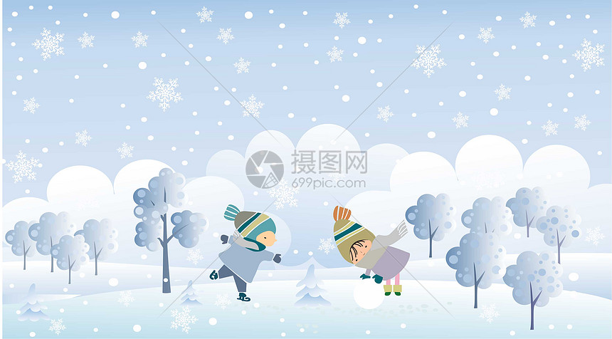 欢快缤纷雪景图片
