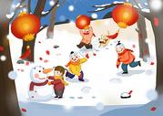 打雪仗堆雪人图片