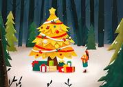 圣诞树和许愿小女孩图片