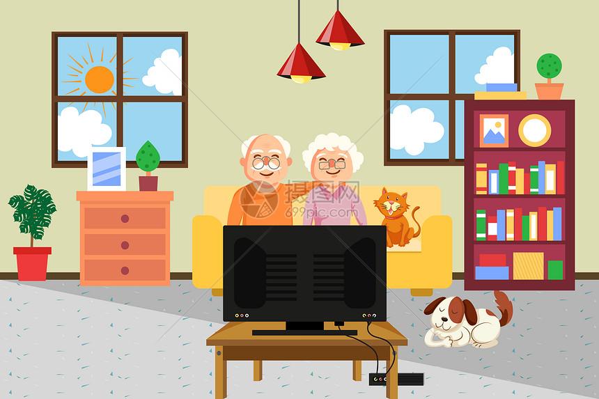 居家晚年生活背景图片