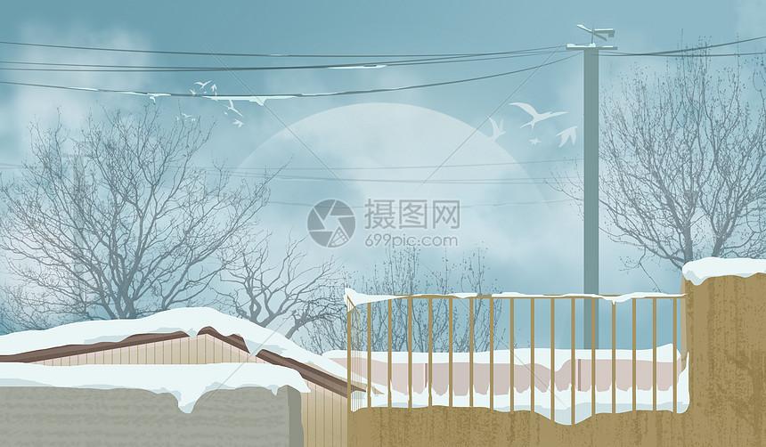 屋顶雪景图片