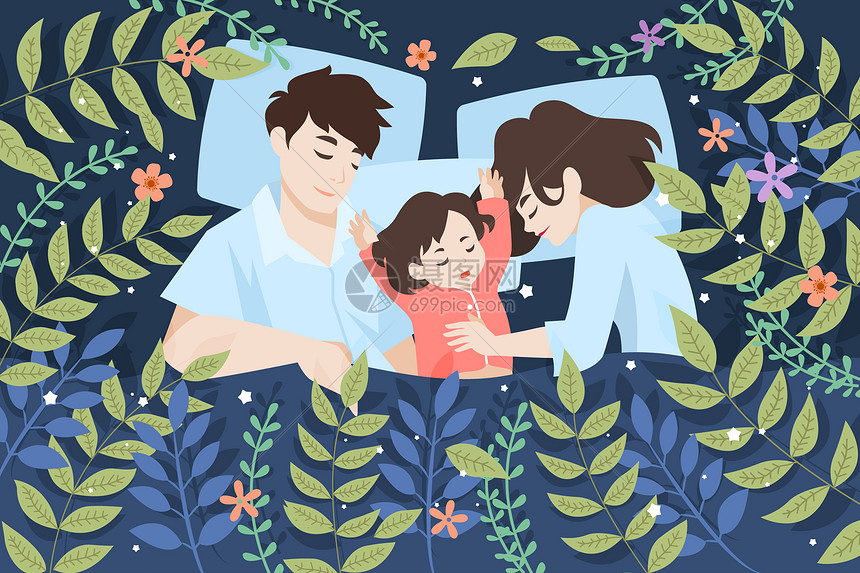 熟睡的一家人插画图片