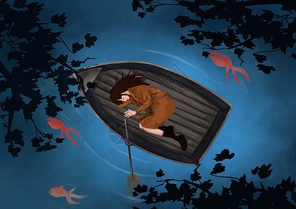 躺在船上的女人图片