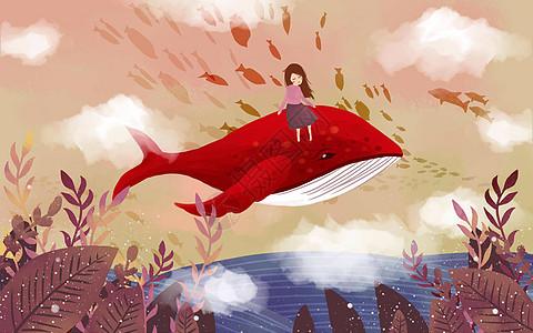 唯美治愈飞天鲸鱼图片