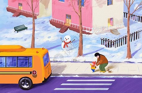 送孩子上学的冬季图片