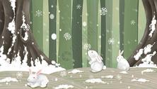雪地玩耍的兔子图片
