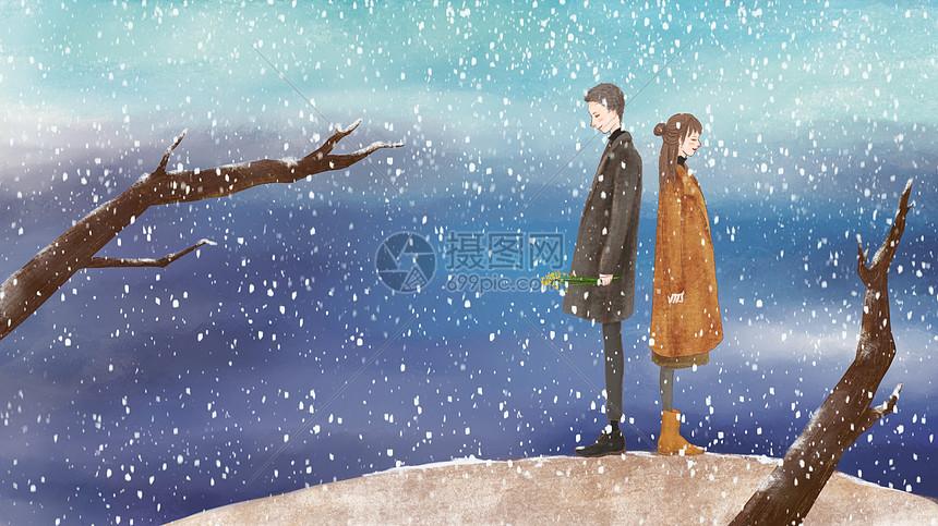 雪中的爱恋图片