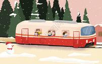 冬季下雪治愈系插画图片