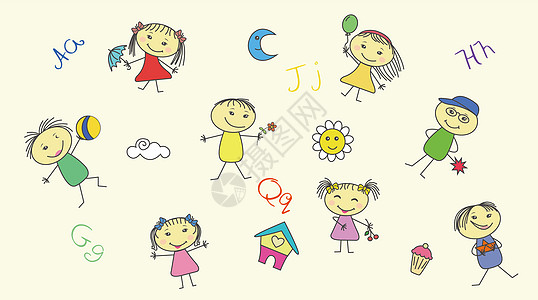 卡通儿童矢量背景图片