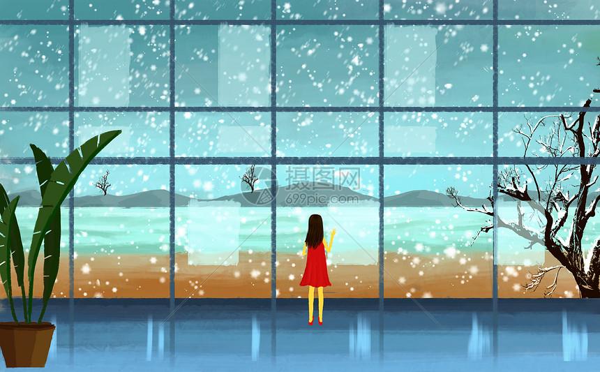 透过窗户看雪景图片