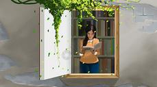 书窗里看书的女孩图片