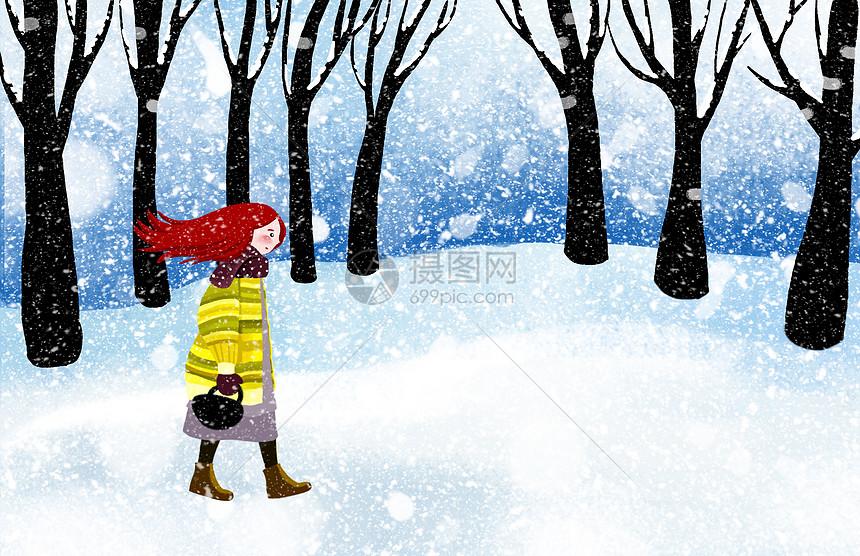 雪中漫步的少女图片