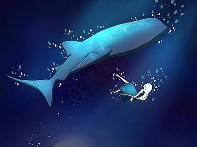 鲸与女孩插画图片