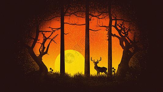 夕阳下的麋鹿插画图片