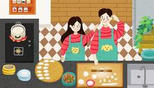 家人包饺子图片